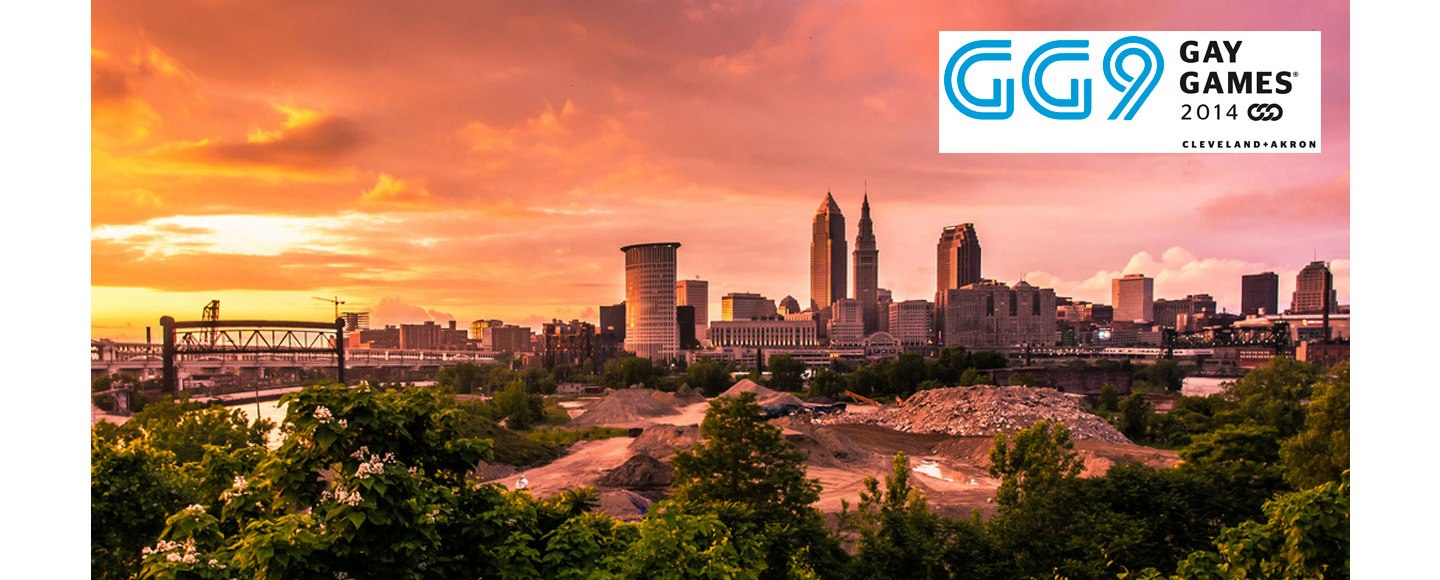 Cleveland skyline and Gay Games logo 2014