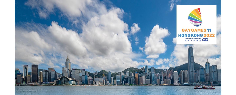 Hong Kong skyline and Gay Games 2022 logo