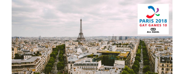 Paris skyline and Paris 2018 Gay Games logo
